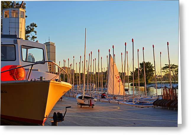Sailboats Docked Digital Art Greeting Cards - Charles River Community Boathouse Boats Greeting Card by Toby McGuire