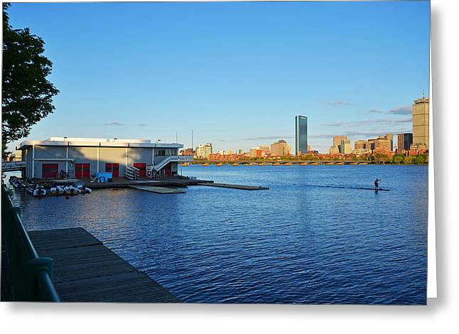 Charles River Greeting Cards - Charles River Paddle Boarder Greeting Card by Toby McGuire