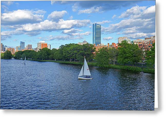 Charles River Sailboat Boston Ma Hancock Greeting Card by Toby McGuire