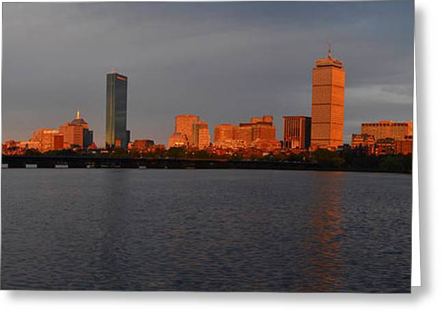 Charles River Greeting Cards - Charles River Sunset Panorama Boston MA Greeting Card by Toby McGuire