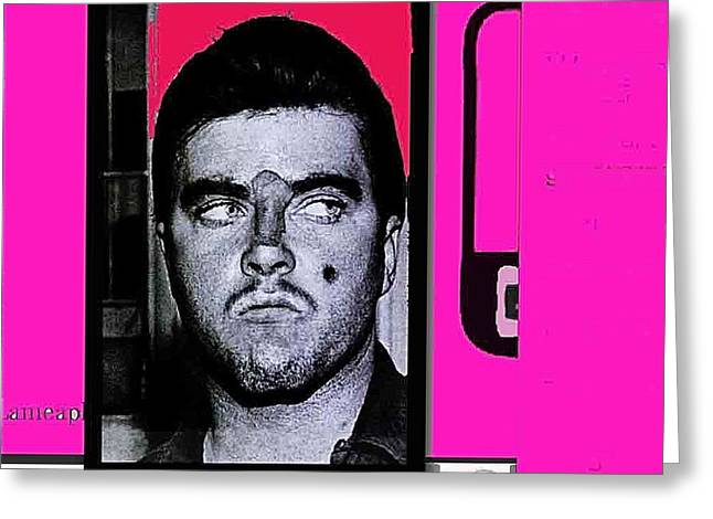 Charles Smitty Schmid Arrest Photo With Makeup Collage  Tucson Arizona 1965-2008 Greeting Card by David Lee Guss
