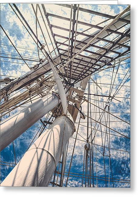Wooden Ship Greeting Cards - Charles W. Morgan - Ropes Pattern Greeting Card by Black Brook Photography