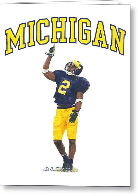 Woodson Greeting Cards - Charles Woodson Greeting Card by Chris Brown
