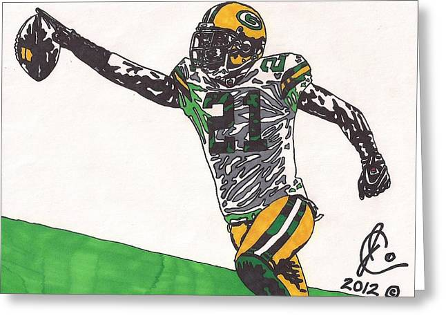 Woodson Greeting Cards - Charles Woodson Greeting Card by Jeremiah Colley