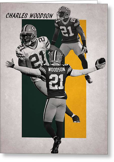 Woodson Greeting Cards - Charles Woodson Packers Greeting Card by Joe Hamilton