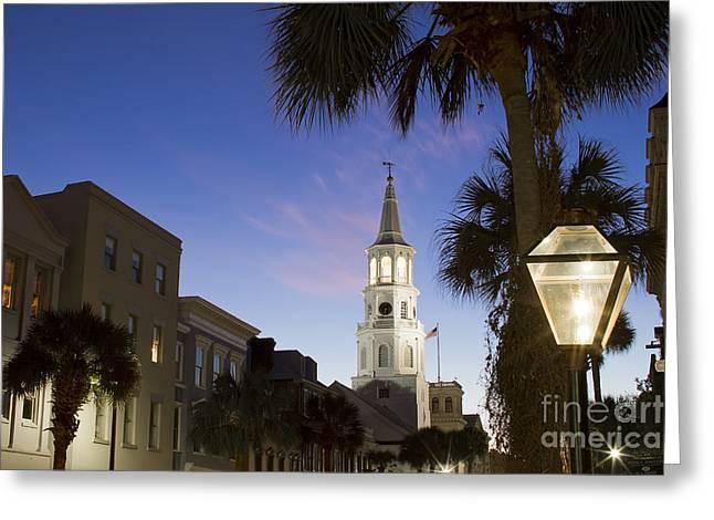 Charleston Greeting Cards - Charleston At Night St Michaels Church Steeple Greeting Card by Dustin K Ryan