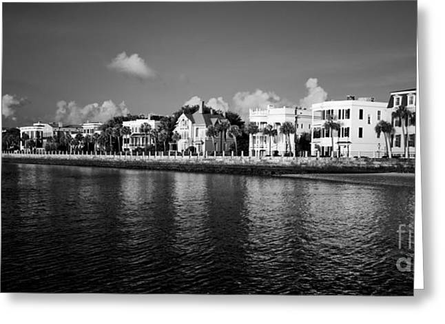 Harbor Greeting Cards - Charleston Battery Row Black And White Greeting Card by Dustin K Ryan