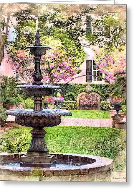 Three Tiered Fountain Greeting Cards - Charleston Fountain Greeting Card by Melissa Bittinger