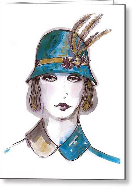 Woman Head Greeting Cards - Charleston Girl Watercolor Greeting Card by Marian Voicu