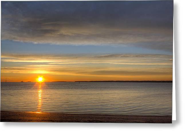 Sunrise Greeting Cards - Charleston Harbor Sunrise Greeting Card by Dustin K Ryan