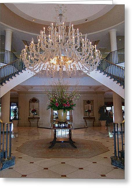 Charleston Greeting Cards - Charleston Hotel Lobby Greeting Card by Pat Exum