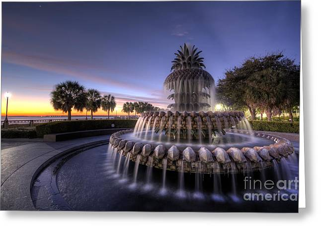 Hdr (high Dynamic Range) Greeting Cards - Charleston Pineapple Fountain Sunrise Greeting Card by Dustin K Ryan