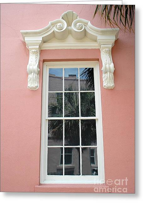 French Quarter Photographs Greeting Cards - Charleston Pink Coral White Architecture - Charleston Historical District Architecture - Mills House Greeting Card by Kathy Fornal