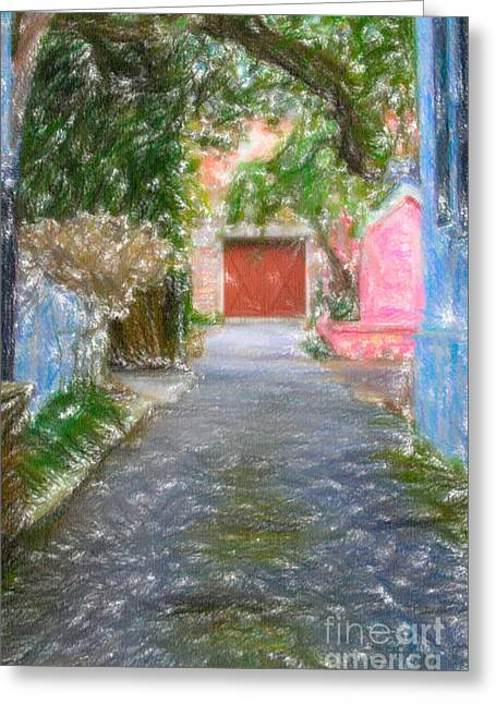 Charleston Drawings Greeting Cards - Charleston SC Alley Greeting Card by Dale Powell