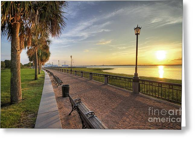 Park Lights Greeting Cards - Charleston SC waterfront park sunrise  Greeting Card by Dustin K Ryan