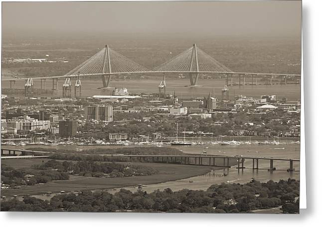 Charleston Greeting Cards - Charleston South Carolina Aerial Greeting Card by Dustin K Ryan