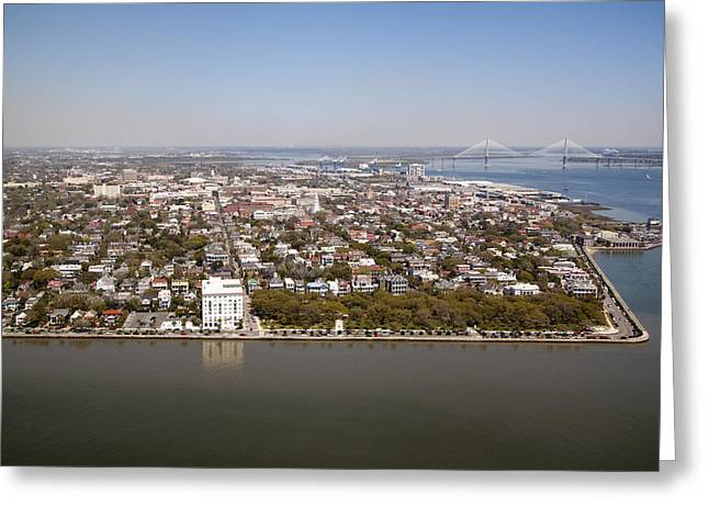 Rainbow Row Greeting Cards - Charleston South Carolina Battery Waterfront Aerial Greeting Card by Dustin K Ryan