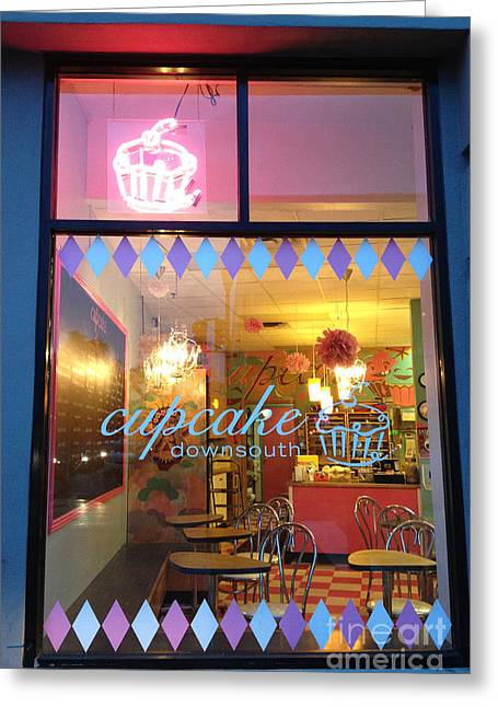 Sign. Cupcakes Greeting Cards - Charleston South Carolina Cupcake Downsouth Cafe - Charleston Cupcake Shop - Charleston Street Art Greeting Card by Kathy Fornal