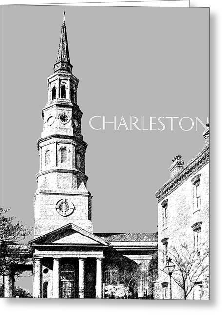 Pen Greeting Cards - Charleston St. Phillips Church - Silver        Greeting Card by DB Artist