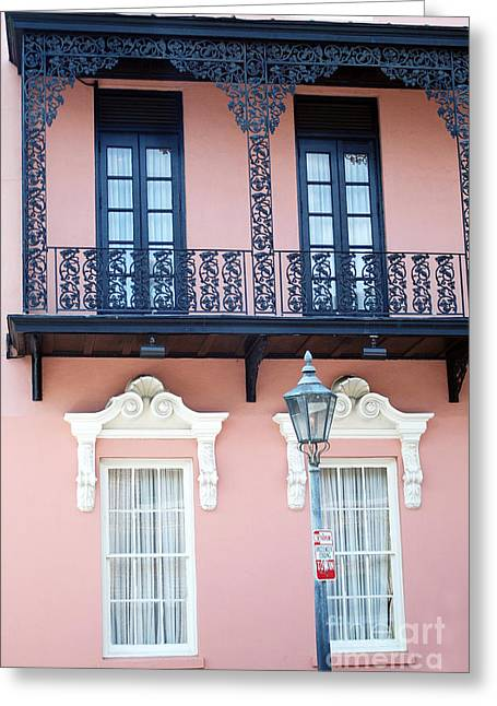 Charleston Houses Greeting Cards - Charleston The Mills House Lace Balconies and Window Architecture - Charleston Historical District Greeting Card by Kathy Fornal