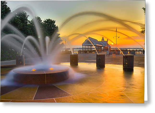 Concord Greeting Cards - Charleston Waterfront Park Pier and Fountain - Charleston SC Greeting Card by Donnie Whitaker
