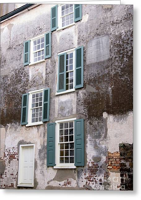 Historic Home Greeting Cards - Charleston Windows Greeting Card by Dawna  Moore Photography