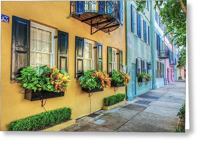 Charleston's Rainbow Row Greeting Card by Drew Castelhano