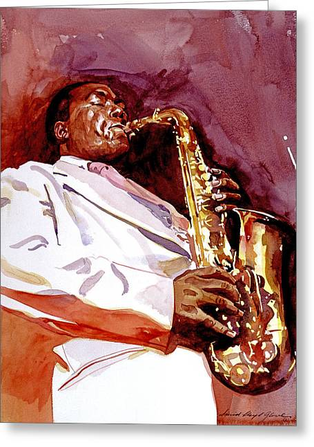 Parker Greeting Cards - Charlie Bird Parker Greeting Card by David Lloyd Glover
