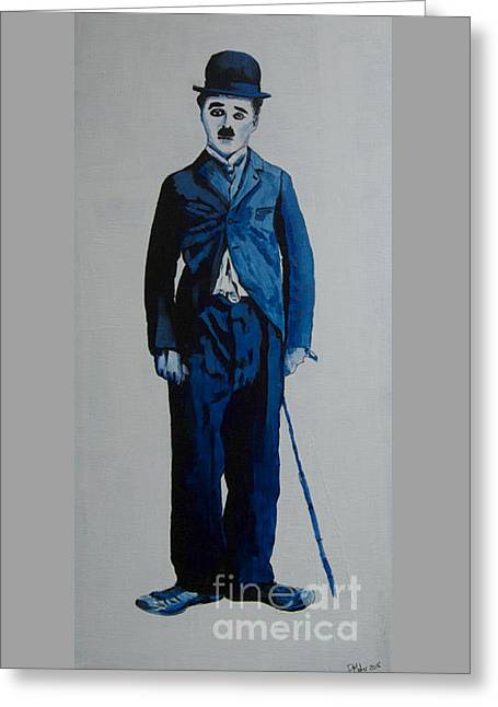Chaplin Poster Greeting Cards - Charlie Blue Greeting Card by Paul Maher