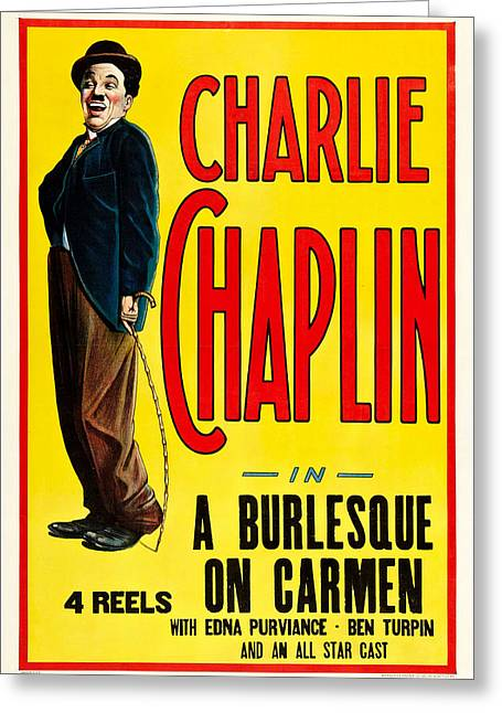 Chaplin Poster Greeting Cards - Charlie Chaplin in A Burlesque on Carmen 1915 Greeting Card by Mountain Dreams
