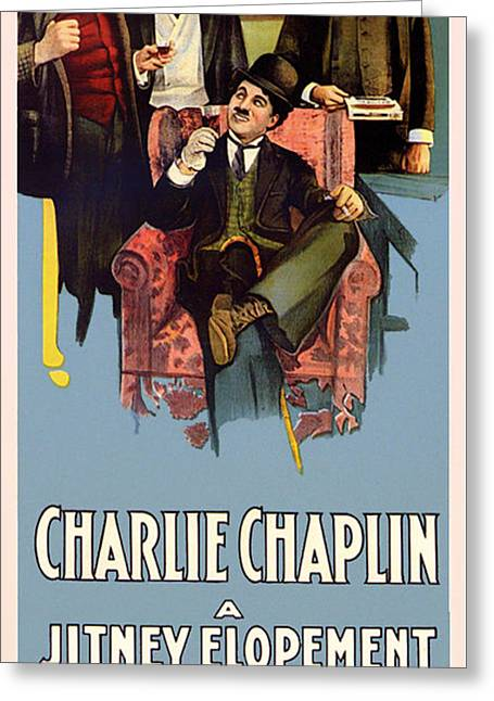 Comedian Greeting Cards - Charlie Chaplin In A Jitney Elopement 1915 Greeting Card by Mountain Dreams
