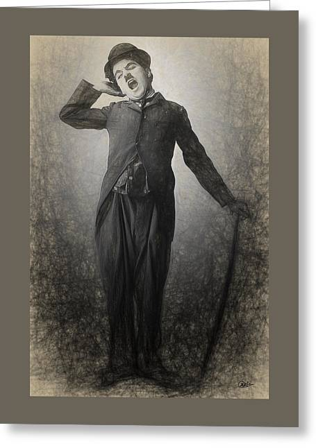 Chaplin Drawn Greeting Card by Joaquin Abella