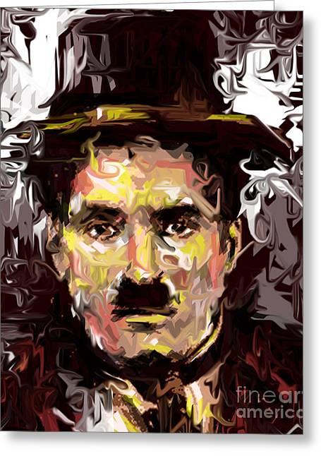 Charlie Chaplin  Greeting Card by Kegya Art Gallery