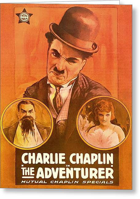 Comedian Mixed Media Greeting Cards - Charlie Chaplin - The Adventurer 1917 Greeting Card by Mountain Dreams