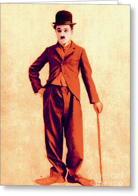 Comedian Digital Greeting Cards - Charlie Chaplin The Tramp 20130216p68 Greeting Card by Wingsdomain Art and Photography