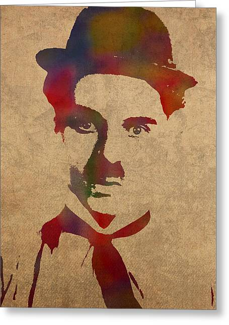 Charlie Chaplin Greeting Cards - Charlie Chaplin Watercolor Portrait Silent Movie Vintage Actor on Worn Distressed Canvas Greeting Card by Design Turnpike