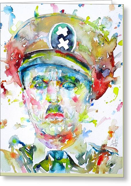 Chaplin Greeting Cards - CHARLIE CHAPLIN - watercolor portrait.6 Greeting Card by Fabrizio Cassetta