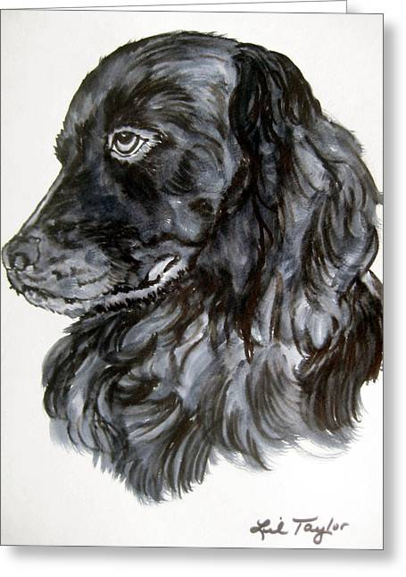 Dog Close-up Paintings Greeting Cards - Charlie Greeting Card by Lil Taylor