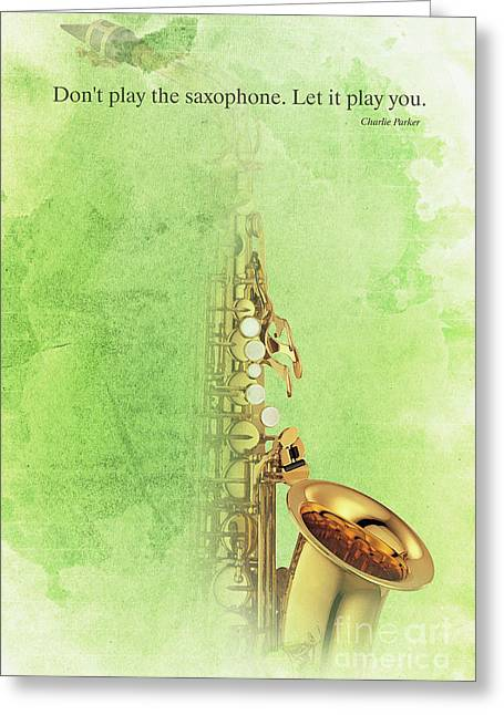 Charlie Parker Saxophone Green Vintage Poster And Quote, Gift For Musicians Greeting Card by Pablo Franchi