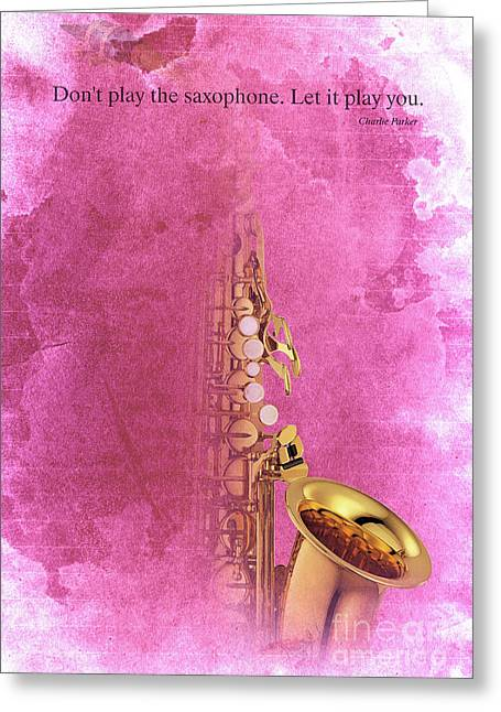 Charlie Parker Saxophone Light Red Vintage Poster And Quote, Gift For Musicians Greeting Card by Pablo Franchi