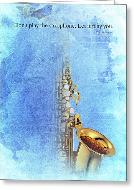 Charlie Parker Saxophone Vintage Poster And Quote, Gift For Musicians Greeting Card by Pablo Franchi