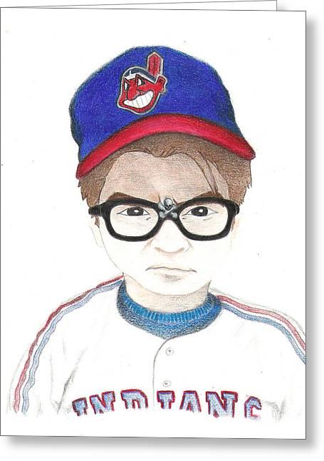 Charlie Sheen A.k.a Rick Vaughn Greeting Card by Gerard  Schneider Jr
