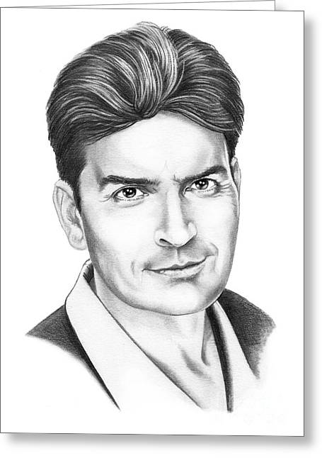 Charlie Sheen Greeting Card by Murphy Elliott