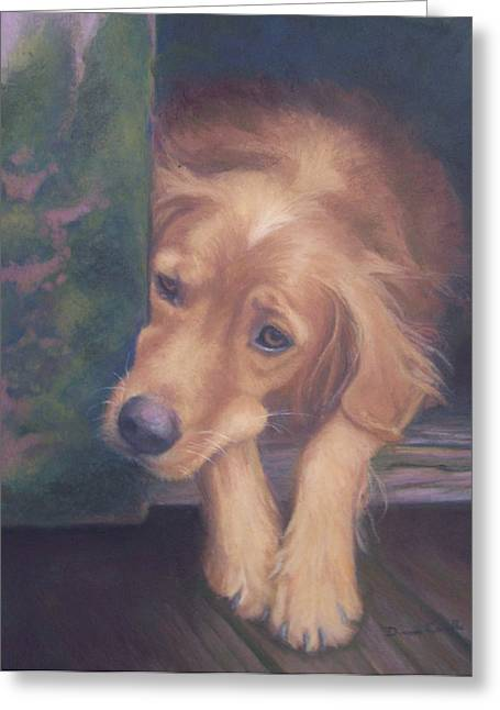 Doghouse Greeting Cards - Charlies In The Doghouse Greeting Card by Diane Caudle