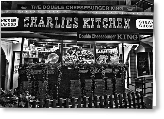 Cheeseburger Digital Greeting Cards - Charlies Kitchen in Harvard Square Black and White Greeting Card by Toby McGuire