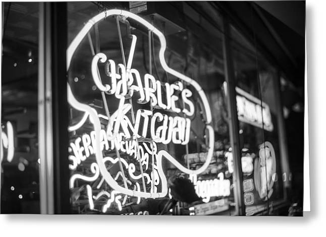 Charlie's Kitchen Neon Signs Harvard Square Cambridge Black And White Greeting Card by Toby McGuire
