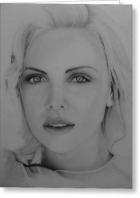 Charlize Theron Greeting Cards - Charlize Theron Greeting Card by Joel Smith