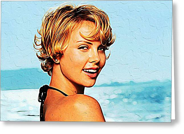 Charlize Theron Greeting Card by Iguanna Espinosa