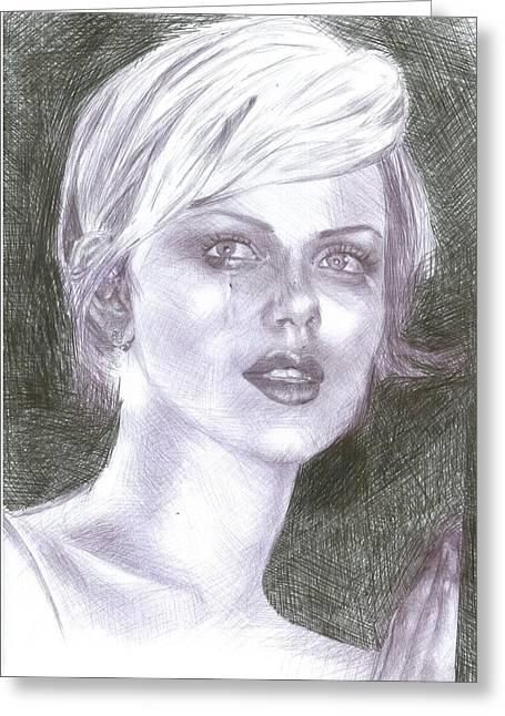 Charlize Theron Greeting Card by Reza Naqvi