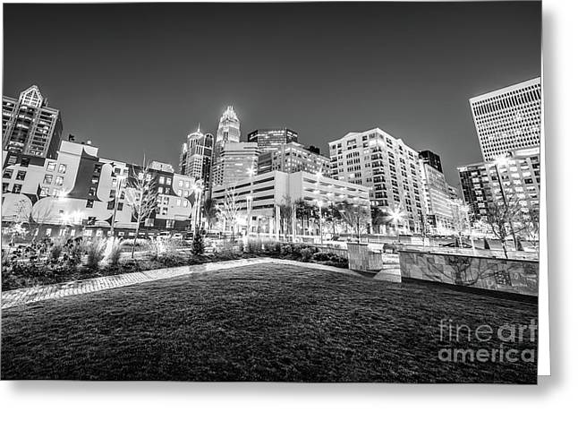 Charlotte City Black And White Photo Greeting Card by Paul Velgos